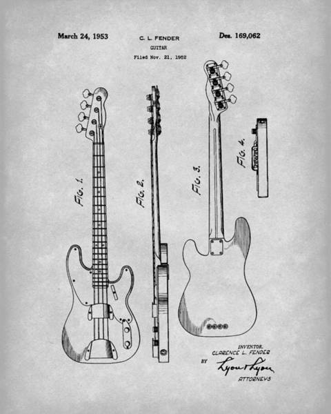 Drawing - Fender Bass Guitar 1953 Patent Art Grey by Prior Art Design