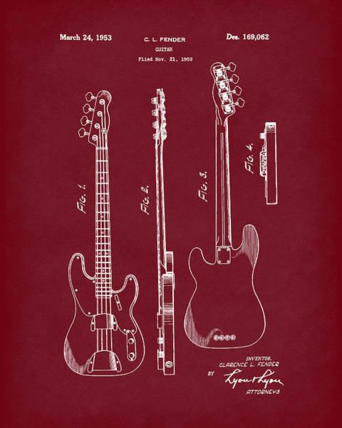 Drawing - Fender Bass Guitar 1953 Patent Art Red Dark by Prior Art Design