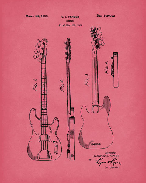 Drawing - Fender Bass Guitar 1953 Patent Art Red  by Prior Art Design