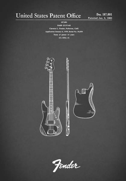 Wall Art - Photograph - Fender Bass Guitar 1960 by Mark Rogan