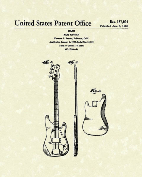 Drawing - Fender Bass Guitar 1960 Patent Art by Prior Art Design
