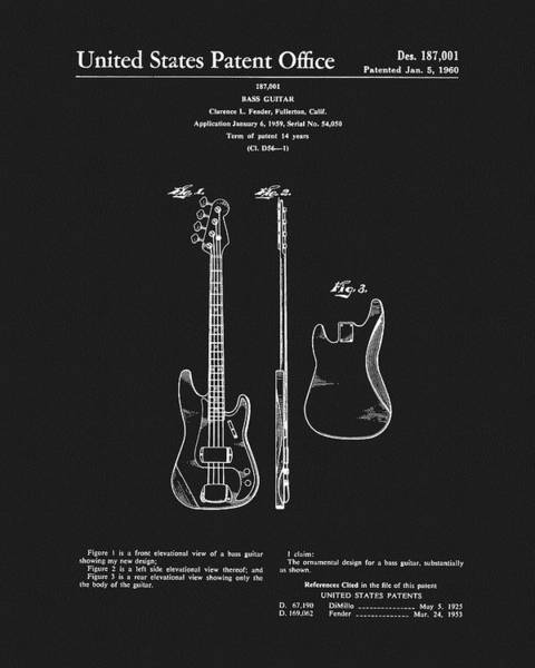 Drawing - Fender Bass Guitar Patent by Dan Sproul