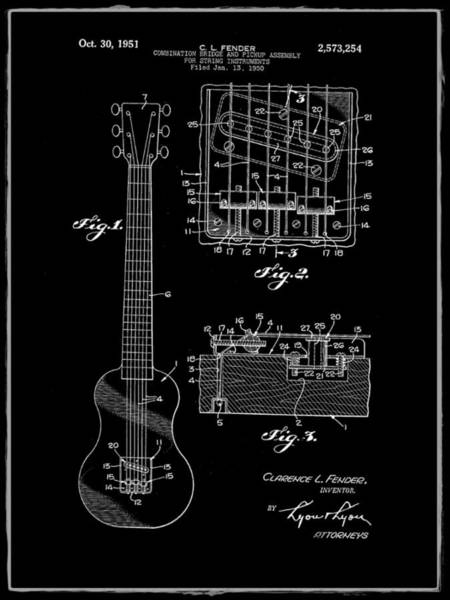 Strat Photograph - Fender Bridge And Pickup Assembly Patent 1951 Black by Bill Cannon