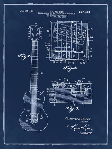 Strat Photograph - Fender Bridge And Pickup Assembly Patent 1951 Blue by Bill Cannon