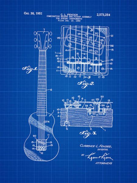 Strat Photograph - Fender Bridge And Pickup Assembly Patent 1951 Blue Print by Bill Cannon