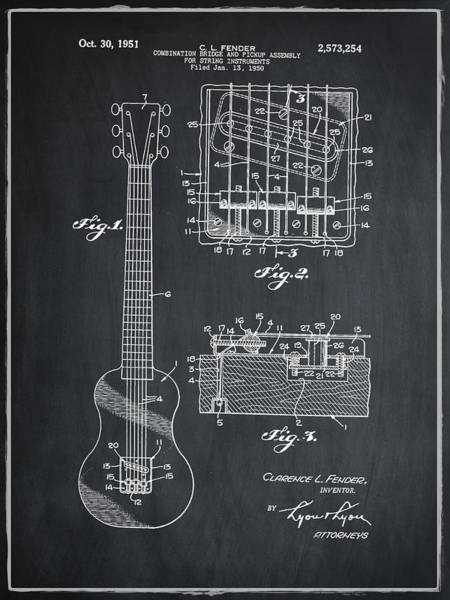 Strat Photograph - Fender Bridge And Pickup Assembly Patent 1951 Chalk by Bill Cannon