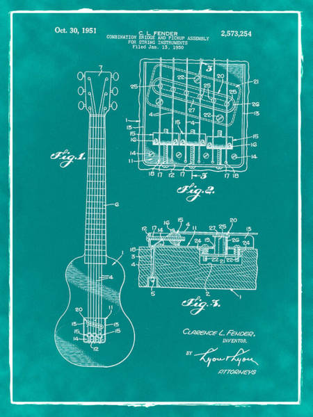 Strat Photograph - Fender Bridge And Pickup Assembly Patent 1951 Green by Bill Cannon