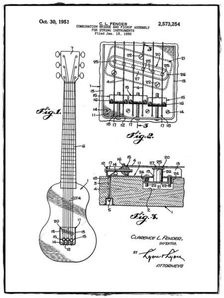Strat Photograph - Fender Bridge And Pickup Assembly Patent 1951 White by Bill Cannon