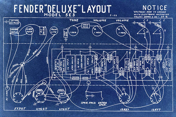 Wall Art - Photograph - Fender Deluxe Layout Model 5e3 In Blue by Digital Reproductions