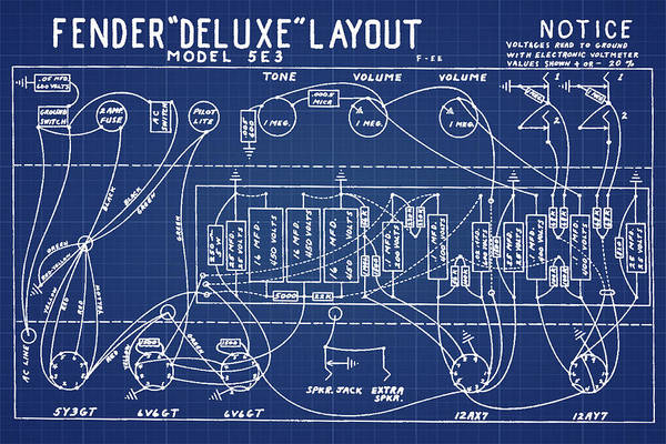 Wall Art - Photograph - Fender Deluxe Layout Model 5e3 In Blue Print by Bill Cannon