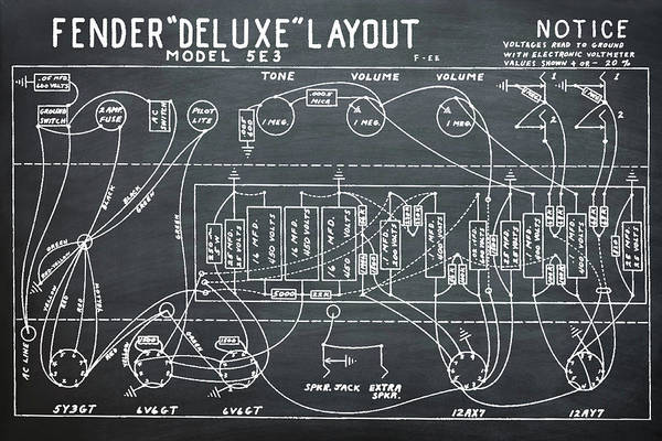 Wall Art - Photograph - Fender Deluxe Layout Model 5e3 In Chalk by Bill Cannon