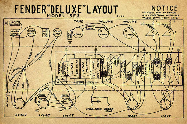 Wall Art - Photograph - Fender Deluxe Layout Model 5e3 In Sepia by Bill Cannon