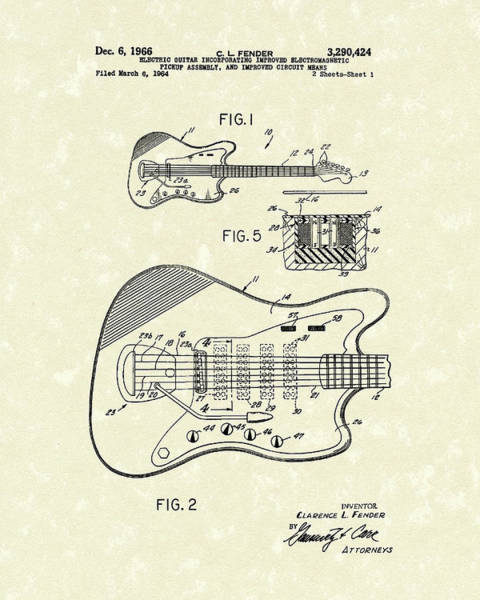 Drawing - Fender Guitar 1966 Patent Art by Prior Art Design