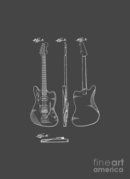 Drawing - Fender Guitar Drawing Tee by Edward Fielding