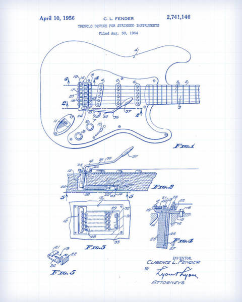 Vector Illustration Painting - Fender Guitar Patent Drawing by Gary Grayson
