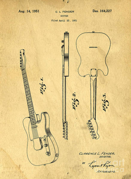Vintage Patent Drawing - Fender Guitar Patent by Edward Fielding