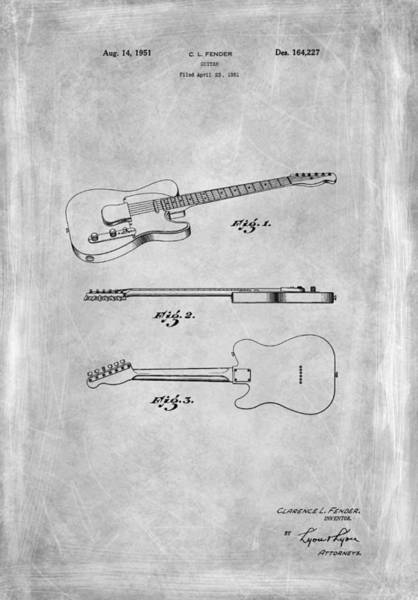Wall Art - Photograph - Fender Guitar Patent From 1951 by Mark Rogan