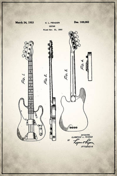 Bass Player Wall Art - Digital Art - Fender Precision Bass Patent 1952 by Bill Cannon