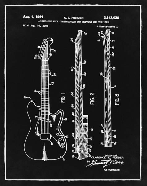 Guitar Neck Photograph - Fender Stratocaster Patent 1964 Black And White by Bill Cannon