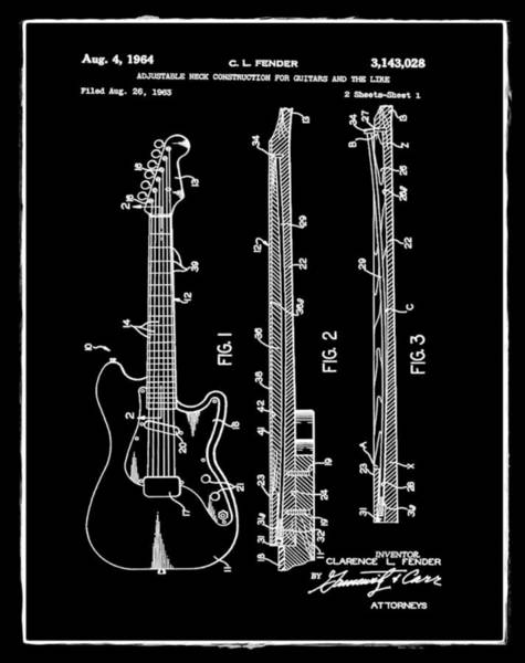 Strat Photograph - Fender Stratocaster Patent 1964 Black by Bill Cannon