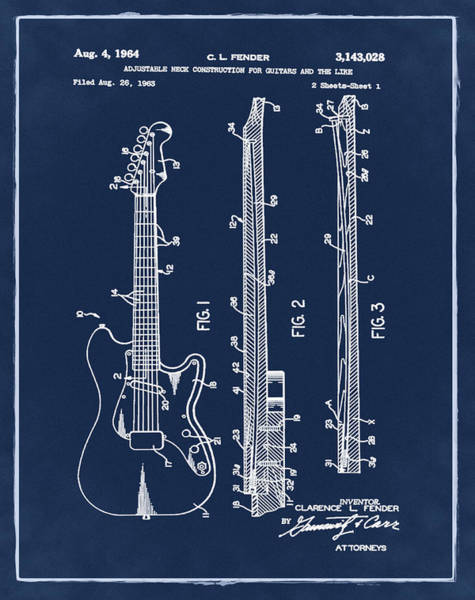 Strat Photograph - Fender Stratocaster Patent 1964 Blue by Bill Cannon