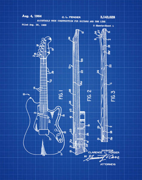 Strat Photograph - Fender Stratocaster Patent 1964 Blueprint by Bill Cannon