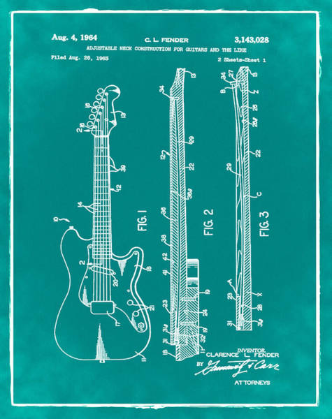 Strat Photograph - Fender Stratocaster Patent 1964 Green by Bill Cannon