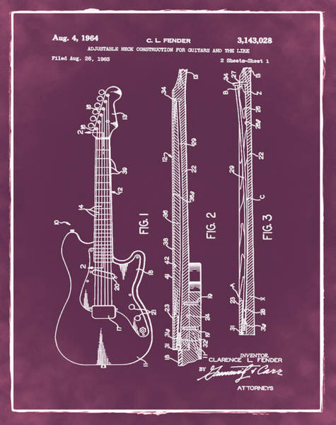 Strat Photograph - Fender Stratocaster Patent 1964 Red by Bill Cannon