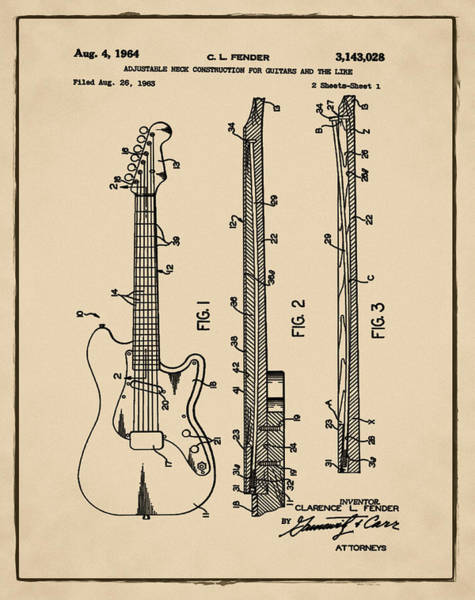 Strat Photograph - Fender Stratocaster Patent 1964 Sepia by Bill Cannon