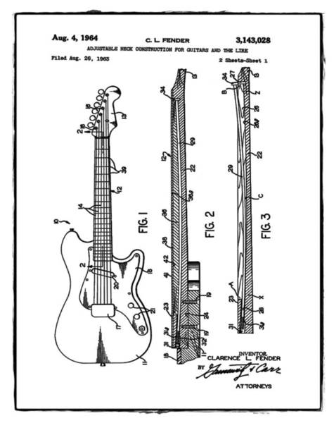 Strat Photograph - Fender Stratocaster Patent 1964 White by Bill Cannon