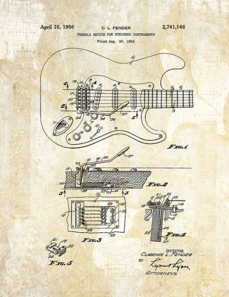 Tremolo Digital Art - Fender Stratocaster Tremelo Patent Art IIi by Gary Bodnar