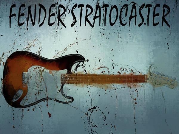 Mixed Media - Fender Stratocaster Splatter by Dan Sproul