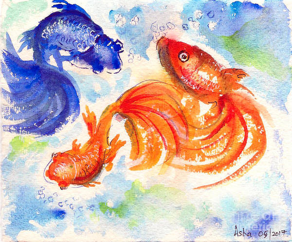 Painting - Feng Shui Fishes by Asha Sudhaker Shenoy