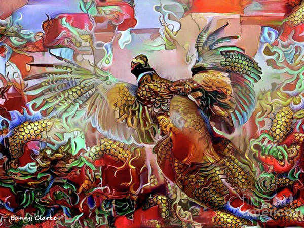 Pheasant Digital Art - Fenghuang by Bunny Clarke