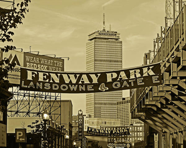 Photograph - Fenway Park Banners Boston Ma Sepia by Toby McGuire