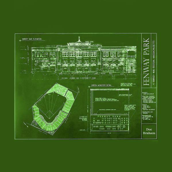 Fenway Park Blueprints Home Of Baseball Team Boston Red Sox Art Print