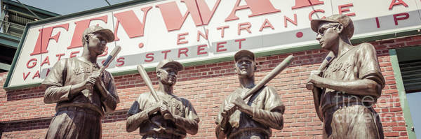 Bobby Wall Art - Photograph - Fenway Park Bronze Statues Panorama Photo by Paul Velgos