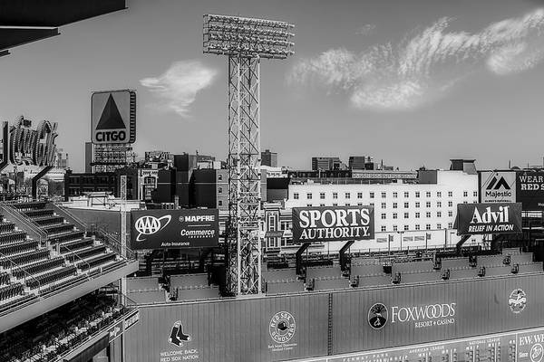 Photograph - Fenway Park Green Monster Wall Bw by Susan Candelario