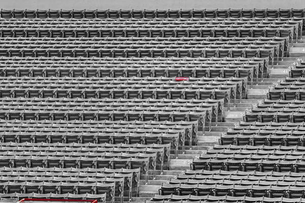 Photograph - Fenway Park Red Chair Number 21 Bw by Susan Candelario