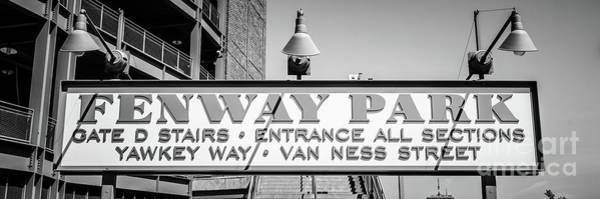 Wall Art - Photograph - Fenway Park Sign Black And White Panoramic Photo by Paul Velgos