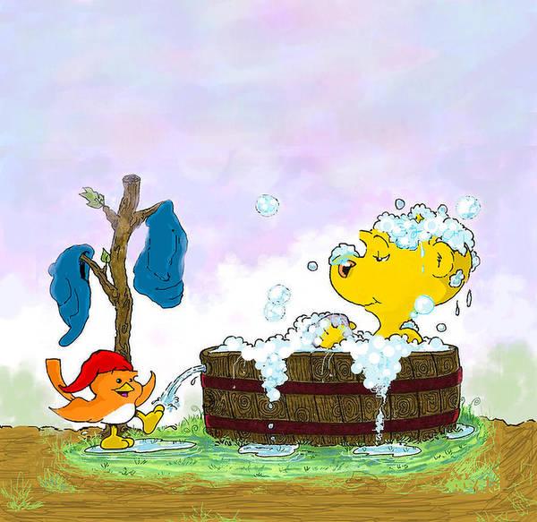 Ferrets Drawing - Ferald's Bubble Bath by Keith Williams