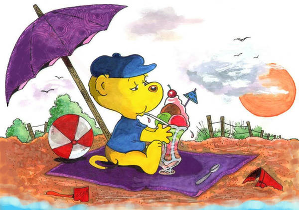 Ferrets Drawing - Ferald's Ice-cream Beach Delight by Keith Williams