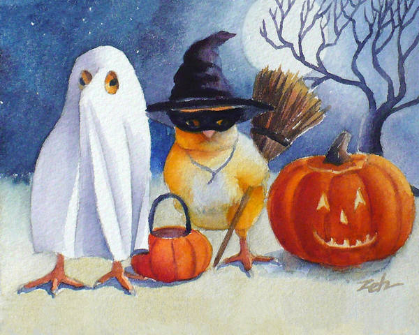 Painting - Ferdinand And Nina Trick Or Treat by Janet Zeh
