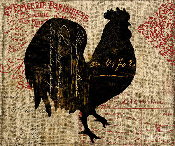 Vintage Tractor Painting - Ferme Farm Rooster by Mindy Sommers