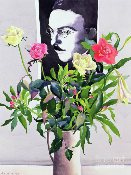 Mustache Painting - Fernando Pessoa, Roses And Lilies by Christopher Ryland