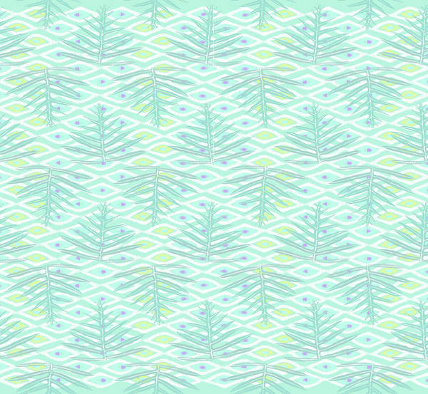 Digital Art - Ferns On Diamonds Pale Teal by Karen Dyson