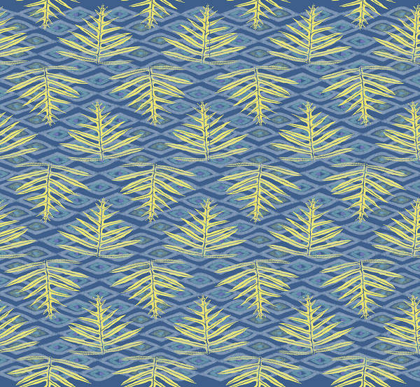 Digital Art - Ferns On Diamonds Yellow Indigo by Karen Dyson