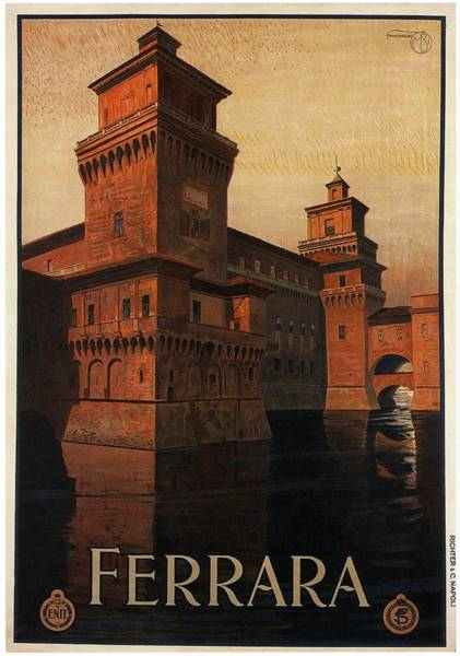Kunst Painting - Ferrara Italy Castle - Vintage Travel Poster by Studio Grafiikka