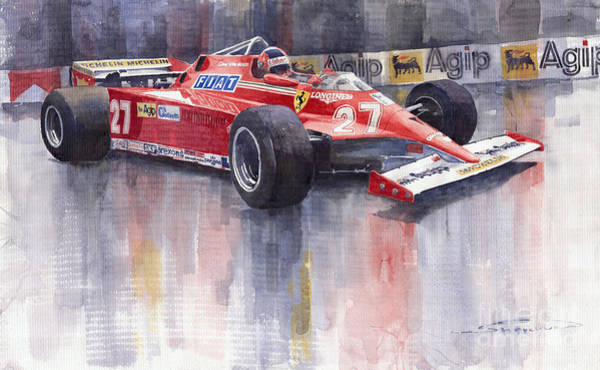 Ferrari Wall Art - Painting - Ferrari 126c 1981 Monte Carlo Gp Gilles Villeneuve by Yuriy Shevchuk