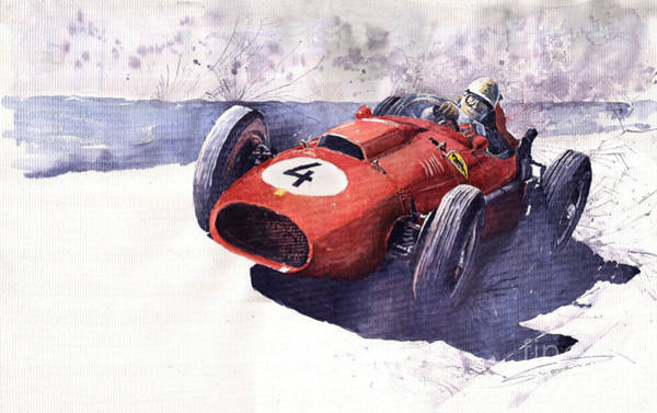 Oldtimer Wall Art - Painting - Ferrari 246 Mike Hawthorn by Yuriy Shevchuk